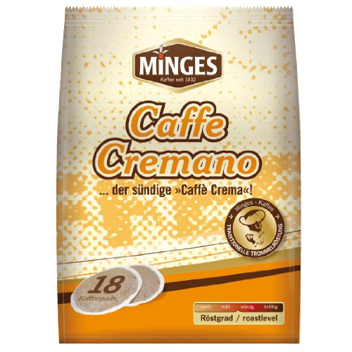 Minges Kaffeepads, Caffe Cremano, gemahlener Röstkaffee, Kaffee, 18 Pads