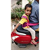 LifeKrafts Child Safety Belt for Children When Travelling on Motorbikes and Scooters. Belts Secures The Child to The Parent Soft and Cushion Based Belt(Pink)