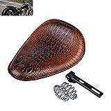 KaTur - Sillín Universal de Piel de cocodrilo para Motocicleta, cojín de muelles para Asiento de Coche, Honda, Yamaha, Kawasaki, Color marrón