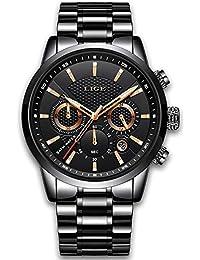 Relojes De Hombre De Pulsera Impermeable Deportivo Marca De Lujo LIGE Cronógrafo Fecha De Acero Inoxidable