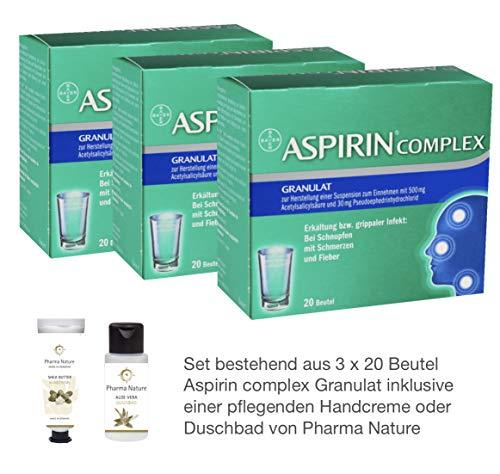 Erkältung Aspirin (Aspirin Complex 3 x 20 Beutel Sparset inkl. einer pflegenden Handcreme o. einem Duschbad von Pharma Nature)