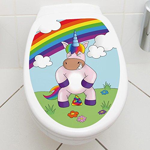 Wandkings WC Deckelaufkleber – Wähle ein Motiv – Einhorn Poop – 30 x 40 cm
