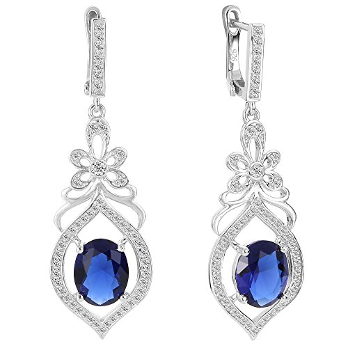 Flyonce Women's 925 Sterling Silver Cubic Zirconia Bridal Flower Teardrop Chandelier Earrings Sapphire Color