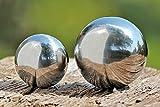 Gartenkugel Set poliert 9 und 13 cm aus Edelstahl Silber