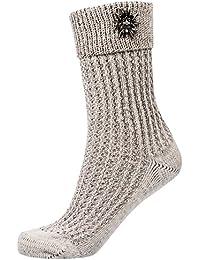 Gaudi-Leathers Trachtenstrümpfe Socke mit Zopfmuster, Umschlag und Enzian beige/meliert