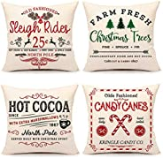 4TH Emotion Farmhouse Christmas Pillow Covers 18x18 Set of 4 Winter Holiday Decorations Xmas Rustic Throw Cush