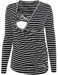 SamMoSon Mujer Raya Acanalada Side-Shred Enfermería Arriba Manga Larga Amamantamiento La Camisa Sujetadores y de Lactancia para Ropa Dormir Camisones Camisetas Trajes baño