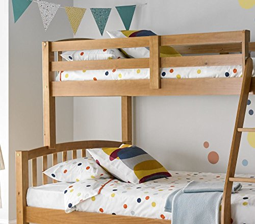 Happy Beds American Triple Sleeper Bunk Bed Pine Wooden Kids Bedroom Furniture Frame Only 3' Single Top 90 x 190 cm and 4' Small Double Bottom 120 x 190 cm