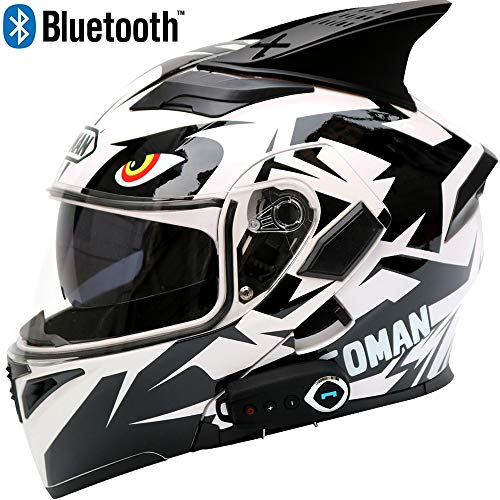 Leaf&Y Motorrad Bluetooth Crash Modular Helm, Offroad Motorrad Integralhelm für Vier Jahreszeiten, Automatische Antwort/FM/Musik/GPS Navigation Voice,XL