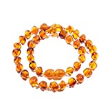 Collana in ambra 32 -34cm, in ambra del Baltico e ambra, colore: Cognac, cod. AMBR-32