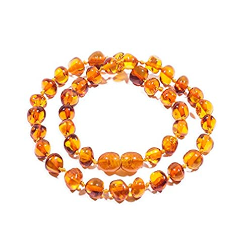 Amber Necklace 32-34 cm with Free Baltic Amber Pendant - 100% Genuine Premium Baltic Amber Beads