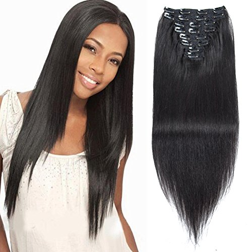 18 inch Clip in Hair Extension 7A Grade Double Weft Long Straight Hair 8 piece 20 clips Full Head 100% Remy Human Hair Extension 130g by Originea(#1B Natural Black) (Hair Extensions Clip-in 18)