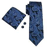 hi-tie Classic juego de seda corbata azul hombre formal