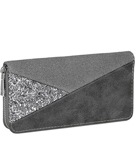 caripe Damen Geldbörse Glitzer Pailletten Streifen Vintage großes Portemonnaie lang Reißverschluss - skyfl3-20-900 (608-72 - grau)