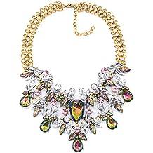 Las mujeres de moda vintage crystal gem multicapa corto clavícula collar