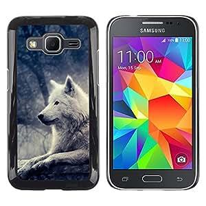 KOKO CASE / Samsung Galaxy Core Prime SM-G360 / loup blanc lumineux arbre de la nuit de la forêt magique / Mince Noir plastique couverture Shell Armure Coque Coq Cas Etui Housse Case Cover