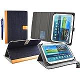 Emartbuy Wolder miTab Pro + 10.1 Pulgadas HD Tablet PC Universal ( 10 - 11 Pulgadas ) Denim Azul Ángulo Múltiples Ejecutivo Folio Funda Carcasa Con Ranuras Para Tarjetas+ Lápiz Óptico