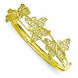PriceRock 14K Gold Butterfly Bangle Bracelet