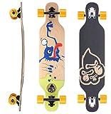 BIKESTAR Premium Canadian Maple Drop Through Flush Cut Pro Longboard Skateboard für Kinder auch Anfänger ab ca. 6-8 Jahre ★ 65mm Kids Cruiser/Dancer Edition ★ Monster Ink Design