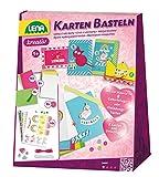 Lena 42148 - Bastelset Karten basteln, mit Karten, Umschläge, Bordüren, Stickern, Garne, Knöpfe und Glittersteinen, Einladungskarten Bastel Set für Kinder ab 5 Jahre, Komplettset für 8 selbstgestaltete Einladungen oder Grußkarten