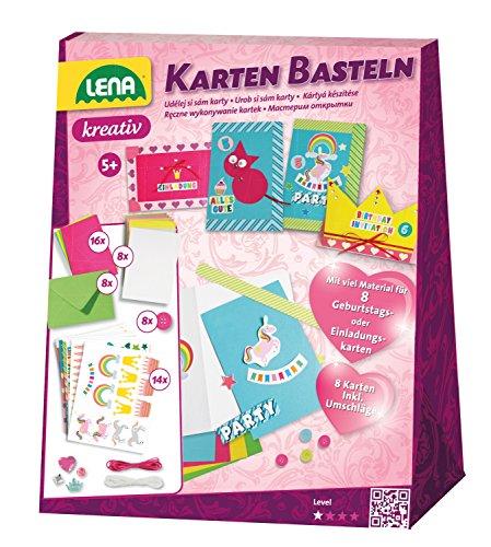 Lena 42148 - Bastelset Karten basteln, Komplettset für 8 Grußkarten oder Einladungen mit Karten, Umschläge, Bordüren, Stickern, Garne, Knöpfe und Glittersteinen, Kartenbastelset für Kinder ab 5 Jahre