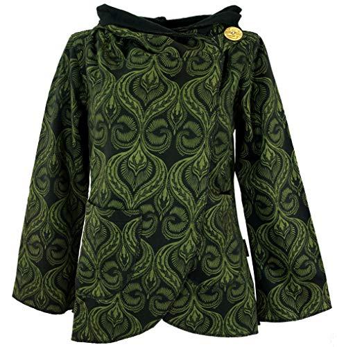 Guru-Shop Cape Boho Wickeljacke, Damen, Schwarz/grün, Baumwolle, Size:XL (42), Boho Jacken, Westen Alternative Bekleidung