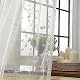 Baumwolle und leinen Gardine aus voile, Fenster-schutthalden Stickerei Gaze Für Schlafzimmer Wohnzimmer Balkon Bay-fenster Vorhänge-Weiß 200x270cm(79x106inch)