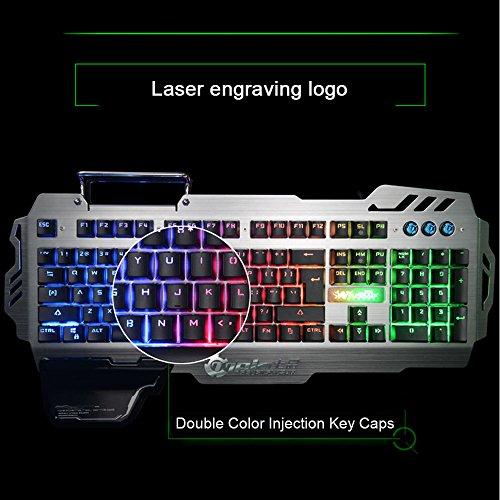 Normia Rita 104 klicken Mechanische Spiel Tastatur, Hintergrundbeleuchtung RGB LED Gaming-Tastatur, Beleuchtete Mechanical Keyboard mit Handy Halter - Aluminum Metall GunMetal Grau - 5