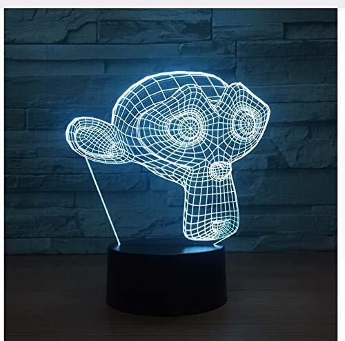 Schöne monkey led 3d nachtlicht tier 7 farbwechsel usb touch schalter lampe baby schlafen 3d tischlampe kindspielzeug geschenk