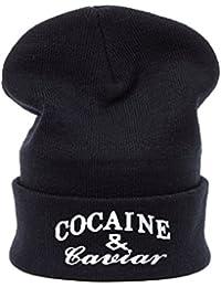 Hombres de las mujeres de gran tamaño Baggy Beanie sombrero invierno cálido Bad Hair Day cocaína y gorra de Caviar YOLO