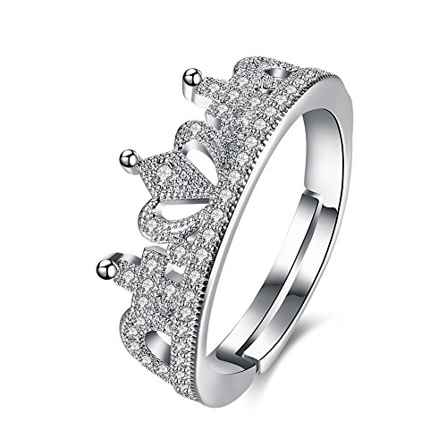 Via Mazzini Platinum Plated Royal Princess Crown Proposal Ring For Women (Ring0296) - FREE SIZE