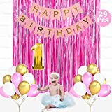 Party Propz Girls 1St Birthday Decoration 29Pcs Combo (3 Pink Foil Curtain+No. 1 Foil Balloon+25 Pcs Balloon+1 Birthday Banner)