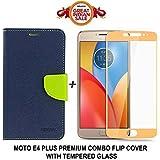 GOELECTRO Luxury Mercury Diary Wallet Style Blue Flip Cover Case For Motorola Moto E4 Plus Flip Cover - Moto E4 Plus Flip Cover + 2.5D Curved 3D Edge To Edge Tempered Glass Mobile Screen Protector (Blue-Gold)