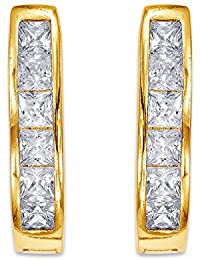 Peora 18K Gold Plated CZ Horseshoe Hoop Earrings For Women And Girls
