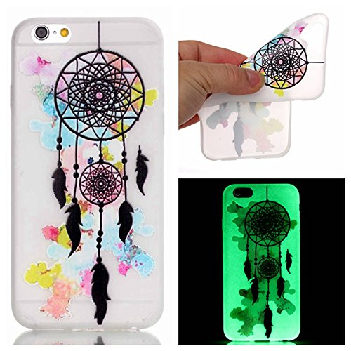 Etche iPhone 6S Plus/iPhone 6 Plus TPU Schutzhülle, Night Luminous Glow Series Case für iPhone 6S Plus/iPhone 6 Plus, Silikon Crystal Case Durchsichtig für iPhone 6S Plus/iPhone 6 Plus, Luxury Fashion Night Luminous Glow,Campanula
