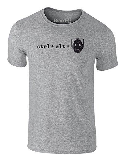 Brand88 - Ctrl + Alt + Del, Erwachsene Gedrucktes T-Shirt Grau/Schwarz