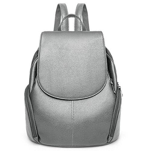 Frauen Mode Einfache Wild Vielseitig Große Kapazität Reise Rucksack Beutel Grey