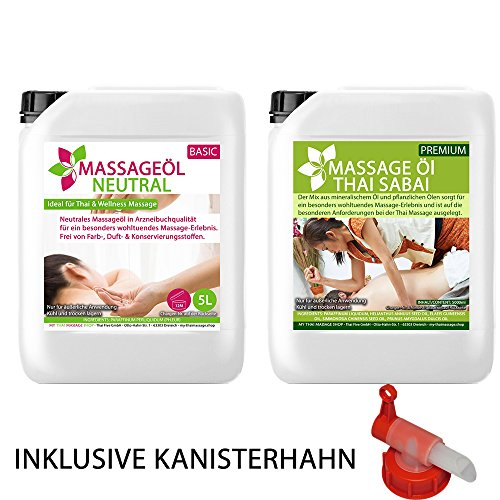 MyThaiMassage - 10L Massage-Öl Set: 5L Massageöl Neutral & Soft + 5L Massage-Öl Thai Sabai (Neutral, Soft+ & Hautpflege) + DIN 45 Kanisterhahn - für Thai-Massage Physiotherapie Spa Basisöl ohne Duft (Thai-massage öl)