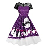JUTOO Damen Vintage Spitze Kurzarm Print Weihnachten Party Swing Dress(Lila,Small)