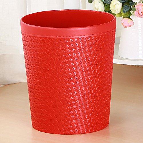 Soporte de suelo funda de piel sintética mochila basura reciclaje papelera, cubo de la basura basura basura papelera para Hotel oficina, Red Woven, 20(top)x25 (bottom) x 80 H