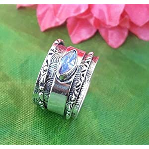 Spinner Spinning Band, natürlicher lila Amethyst Ring, massiver 925 Sterling Silber Ring für Damen, Textur Ring für Weihnachten, Daumen Statement Ring