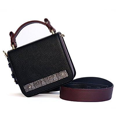 Mini Sac a main Bandouliere En Cuir Femme Couleur Noir Bordeaux