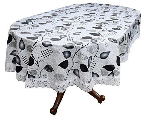 Stylista 4 to 6 Seater Table Cover Oval Shaped WxL 54x78 inches with White Border lace