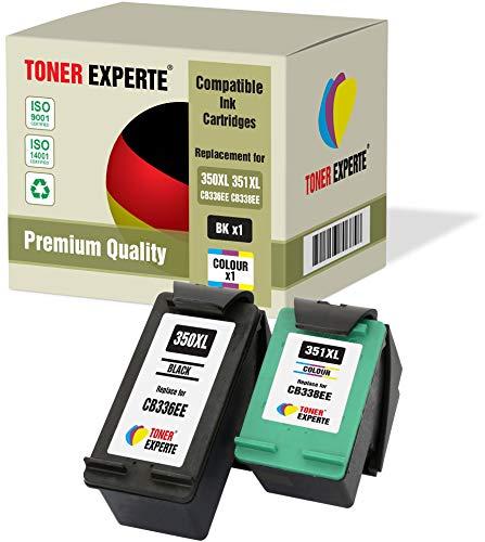 2 XL TONER EXPERTE® Druckerpatronen kompatibel für HP 350XL 351XL Photosmart C4280 C4340 C4380 C4424 C4480 C4485 C4500 C4524 C4580 C4585 C5280 D5360 Deskjet D4200 D4260 D4360 (Schwarz, Farbe)