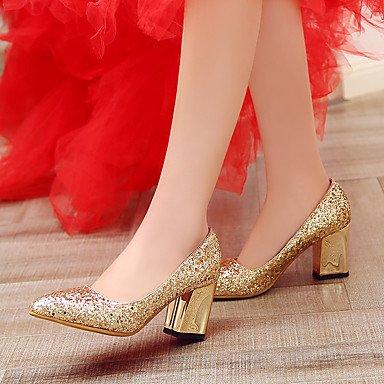 LYNXL Talloni delle donne Primavera Estate Autunno Altro glitter Wedding Party & Sera casuale tacco grosso paillettes Rosso Argento Oro Red