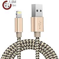 Zeuste Nylon Kabel 3Pack 1.5m iPhone Ladekabel Verbindungskabel Lightning haltbar Datenkabel für Apple iPhone 6 Plus/6 /5/5S/6s iPad 4 iPad Mini/Air iPod 5 und iPod7 Arbeitet mit neuesten iOS-Update (GOLD)