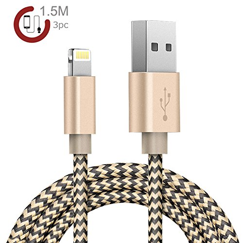 Zeuste Nylon Kabel 3Pack 1.5m iPhone Ladekabel Verbindungskabel Lightning haltbar Datenkabel für Apple iPhone 6 Plus/6 /5/5S/6s iPad 4 iPad Mini/Air iPod 5 und iPod7 Arbeitet mit neuesten iOS-Update (GOLD)