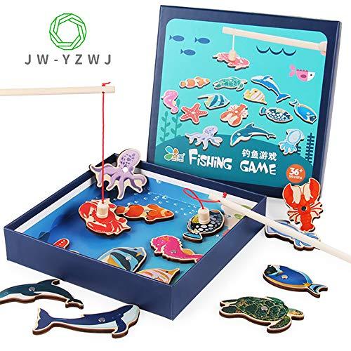 JW-YZWJ Magnetic Fishing Holzspielzeug Develop Gehirn Joggen Hand-Auge-Koordination Simulation Angeln Lernspielzeug für Kinder