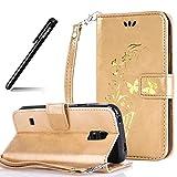 BtDuck Kompatibel mit Samsung Galaxy S5 Mini Handyhülle Gold Schmetterling Hülle Leder Gold Slim Silikon Back Cover Brieftasche Stand Magnetverschluss Kartenfach Hülle