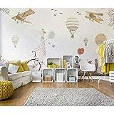Rureng Känguru Flugzeug Ballon 3D Cartoon Wandaufkleber Für Kinderzimmer Baby 3D Cartoon Tapete WandbildWandpapier Dekor-200X140Cm